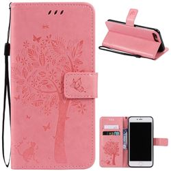 Embossing Butterfly Tree Leather Wallet Case for iPhone 8 Plus / 7 Plus 8P 7P (5.5 inch) - Pink