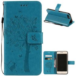 Embossing Butterfly Tree Leather Wallet Case for iPhone 8 Plus / 7 Plus 8P 7P (5.5 inch) - Blue