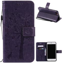 Embossing Butterfly Tree Leather Wallet Case for iPhone 8 Plus / 7 Plus 8P 7P (5.5 inch) - Purple
