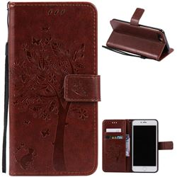 Embossing Butterfly Tree Leather Wallet Case for iPhone 8 Plus / 7 Plus 8P 7P (5.5 inch) - Brown