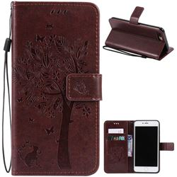 Embossing Butterfly Tree Leather Wallet Case for iPhone 8 Plus / 7 Plus 8P 7P (5.5 inch) - Coffee