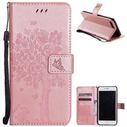 Embossing Butterfly Tree Leather Wallet Case for iPhone 8 Plus / 7 Plus 8P 7P(5.5 inch) - Rose Pink