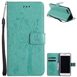 Embossing Butterfly Tree Leather Wallet Case for iPhone 8 Plus / 7 Plus 8P 7P(5.5 inch) - Cyan