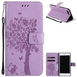 Embossing Butterfly Tree Leather Wallet Case for iPhone 8 Plus / 7 Plus 8P 7P(5.5 inch) - Violet