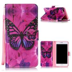 Black Butterfly Leather Wallet Phone Case for iPhone 8 Plus / 7 Plus 8P 7P (5.5 inch)