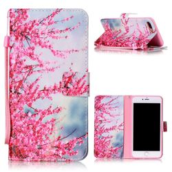 Plum Flower Leather Wallet Phone Case for iPhone 8 Plus / 7 Plus 8P 7P (5.5 inch)