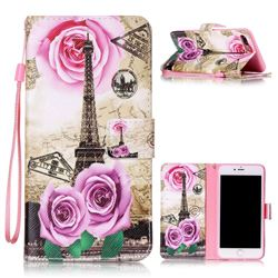 Rose Eiffel Tower Leather Wallet Phone Case for iPhone 8 Plus / 7 Plus 8P 7P (5.5 inch)