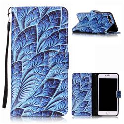 Blue Feather Leather Wallet Phone Case for iPhone 8 Plus / 7 Plus 8P 7P (5.5 inch)
