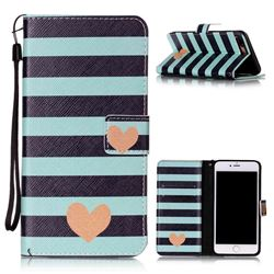 Blue Stripe Heart Leather Wallet Phone Case for iPhone 8 Plus / 7 Plus 8P 7P (5.5 inch)