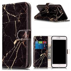 Black Gold Marble PU Leather Wallet Case for iPhone 8 Plus / 7 Plus 8P 7P(5.5 inch)