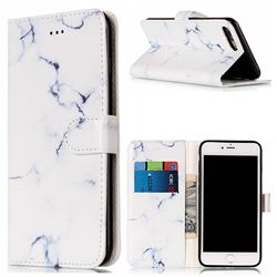 Soft White Marble PU Leather Wallet Case for iPhone 8 Plus / 7 Plus 8P 7P(5.5 inch)