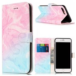 Pink Green Marble PU Leather Wallet Case for iPhone 8 Plus / 7 Plus 8P 7P(5.5 inch)