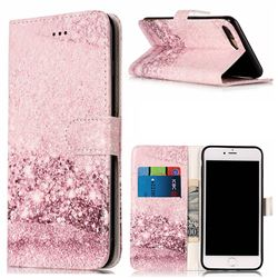 Glittering Rose Gold PU Leather Wallet Case for iPhone 8 Plus / 7 Plus 8P 7P(5.5 inch)