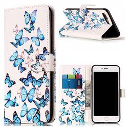 Blue Vivid Butterflies PU Leather Wallet Case for iPhone 8 Plus / 7 Plus 8P 7P(5.5 inch)
