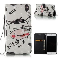 Milk Cow 3D Painted Leather Wallet Case for iPhone 8 Plus / 7 Plus 8P 7P(5.5 inch)