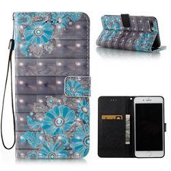 Blue Flower 3D Painted Leather Wallet Case for iPhone 8 Plus / 7 Plus 8P 7P(5.5 inch)
