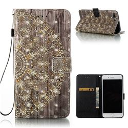 Golden Flower 3D Painted Leather Wallet Case for iPhone 8 Plus / 7 Plus 8P 7P(5.5 inch)