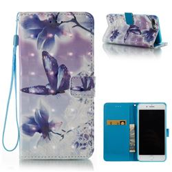 Butterfly Flower 3D Painted Leather Wallet Case for iPhone 8 Plus / 7 Plus 8P 7P(5.5 inch)