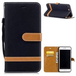 Jeans Cowboy Denim Leather Wallet Case for iPhone 8 Plus / 7 Plus 8P 7P(5.5 inch) - Black