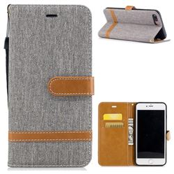Jeans Cowboy Denim Leather Wallet Case for iPhone 8 Plus / 7 Plus 8P 7P(5.5 inch) - Gray