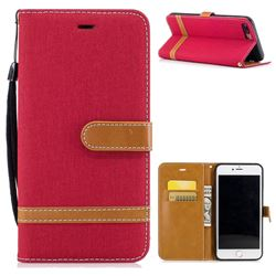 Jeans Cowboy Denim Leather Wallet Case for iPhone 8 Plus / 7 Plus 8P 7P(5.5 inch) - Red