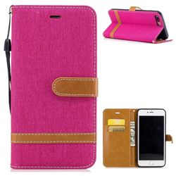 Jeans Cowboy Denim Leather Wallet Case for iPhone 8 Plus / 7 Plus 8P 7P(5.5 inch) - Rose