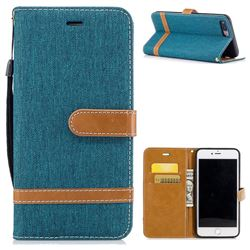 Jeans Cowboy Denim Leather Wallet Case for iPhone 8 Plus / 7 Plus 8P 7P(5.5 inch) - Green