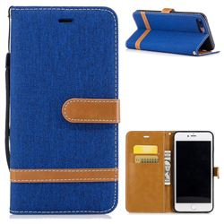 Jeans Cowboy Denim Leather Wallet Case for iPhone 8 Plus / 7 Plus 8P 7P(5.5 inch) - Sapphire