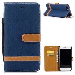 Jeans Cowboy Denim Leather Wallet Case for iPhone 8 Plus / 7 Plus 8P 7P(5.5 inch) - Dark Blue