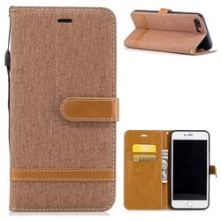 Jeans Cowboy Denim Leather Wallet Case for iPhone 8 Plus / 7 Plus 8P 7P(5.5 inch) - Brown