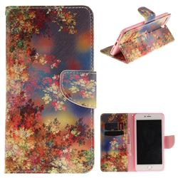 Colored Flowers PU Leather Wallet Case for iPhone 8 Plus / 7 Plus 8P 7P(5.5 inch)