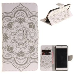 White Flowers PU Leather Wallet Case for iPhone 8 Plus / 7 Plus 8P 7P(5.5 inch)