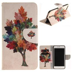 Colored Tree PU Leather Wallet Case for iPhone 8 Plus / 7 Plus 8P 7P(5.5 inch)