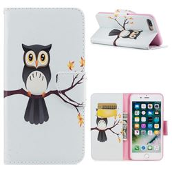 Owl on Tree Leather Wallet Case for iPhone 8 Plus / 7 Plus 8P 7P(5.5 inch)