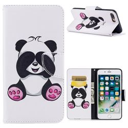 Lovely Panda Leather Wallet Case for iPhone 8 Plus / 7 Plus 8P 7P(5.5 inch)