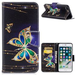 Golden Shining Butterfly Leather Wallet Case for iPhone 8 Plus / 7 Plus 8P 7P(5.5 inch)