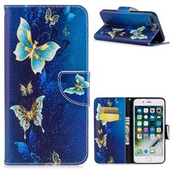 Golden Butterflies Leather Wallet Case for iPhone 8 Plus / 7 Plus 8P 7P(5.5 inch)