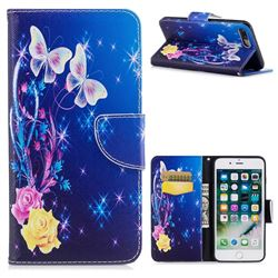 Yellow Flower Butterfly Leather Wallet Case for iPhone 8 Plus / 7 Plus 8P 7P(5.5 inch)