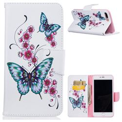 Peach Butterfly Leather Wallet Case for iPhone 8 Plus / 7 Plus 8P 7P(5.5 inch)