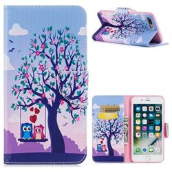 Tree and Owls Leather Wallet Case for iPhone 8 Plus / 7 Plus 8P 7P(5.5 inch)