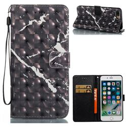 Black Marble 3D Painted Leather Wallet Case for iPhone 8 Plus / 7 Plus 8P 7P(5.5 inch)