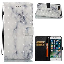 White Gray Marble 3D Painted Leather Wallet Case for iPhone 8 Plus / 7 Plus 8P 7P(5.5 inch)