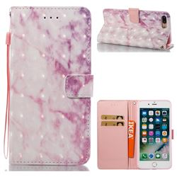Pink Marble 3D Painted Leather Wallet Case for iPhone 8 Plus / 7 Plus 8P 7P(5.5 inch)