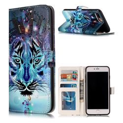Ice Wolf 3D Relief Oil PU Leather Wallet Case for iPhone 8 Plus / 7 Plus 8P 7P(5.5 inch)
