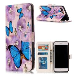 Purple Flowers Butterfly 3D Relief Oil PU Leather Wallet Case for iPhone 8 Plus / 7 Plus 8P 7P(5.5 inch)