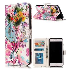 Flower Elephant 3D Relief Oil PU Leather Wallet Case for iPhone 8 Plus / 7 Plus 8P 7P(5.5 inch)