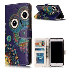 Folk Owl 3D Relief Oil PU Leather Wallet Case for iPhone 8 Plus / 7 Plus 8P 7P(5.5 inch)
