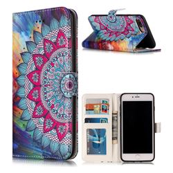 Mandala Flower 3D Relief Oil PU Leather Wallet Case for iPhone 8 Plus / 7 Plus 8P 7P(5.5 inch)