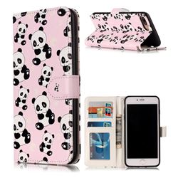 Cute Panda 3D Relief Oil PU Leather Wallet Case for iPhone 8 Plus / 7 Plus 8P 7P(5.5 inch)