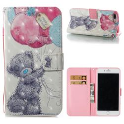 Gray Bear 3D Painted Leather Wallet Case for iPhone 8 Plus / 7 Plus 7P(5.5 inch)